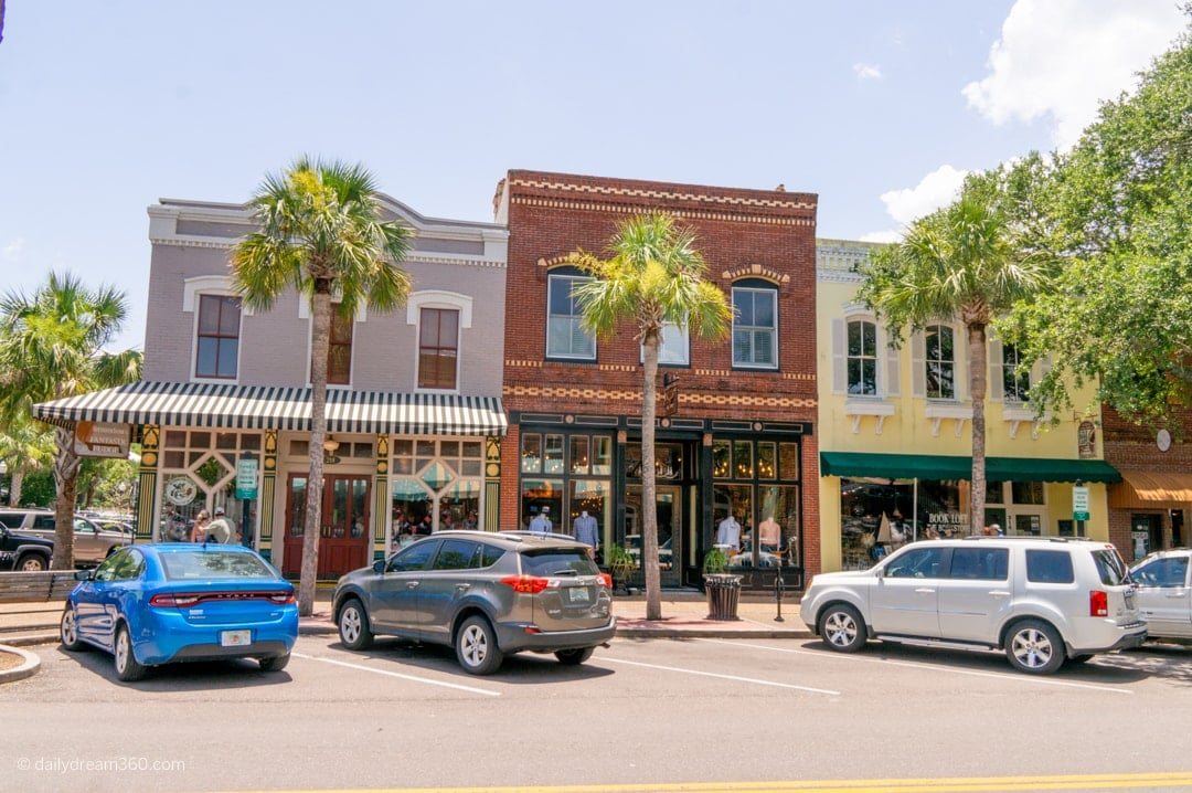 View of shops on main strip of downtown Fernandina Beach