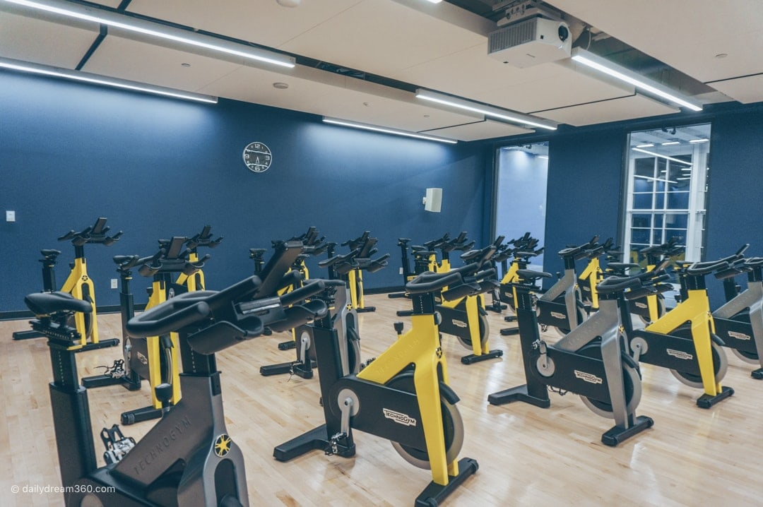 Cycle room at Ten X Toronto Gym