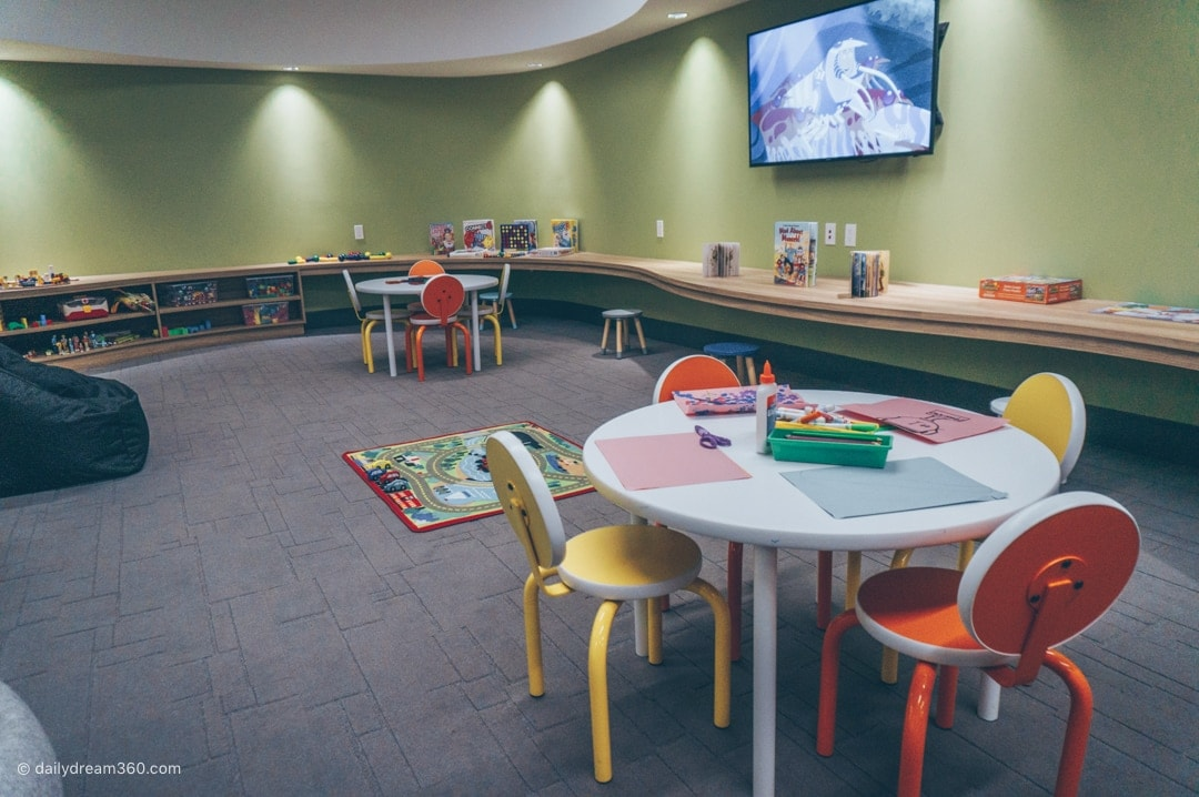 Hotel X Toronto kids play centre arts and crafts tables