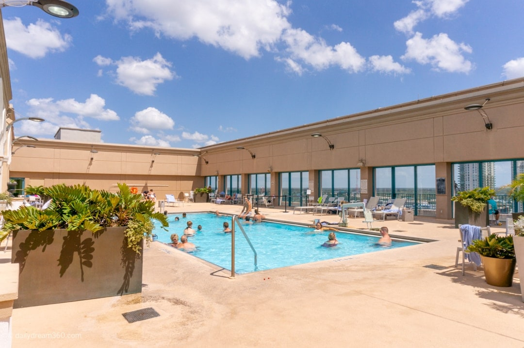 Rooftop pool in sunlight at Hyatt Regency Riverfront Jacksonville