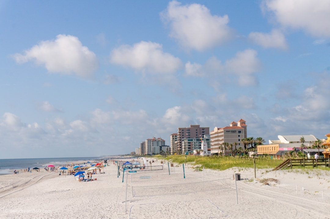Jacksonville beach area view of beach and buildings in background