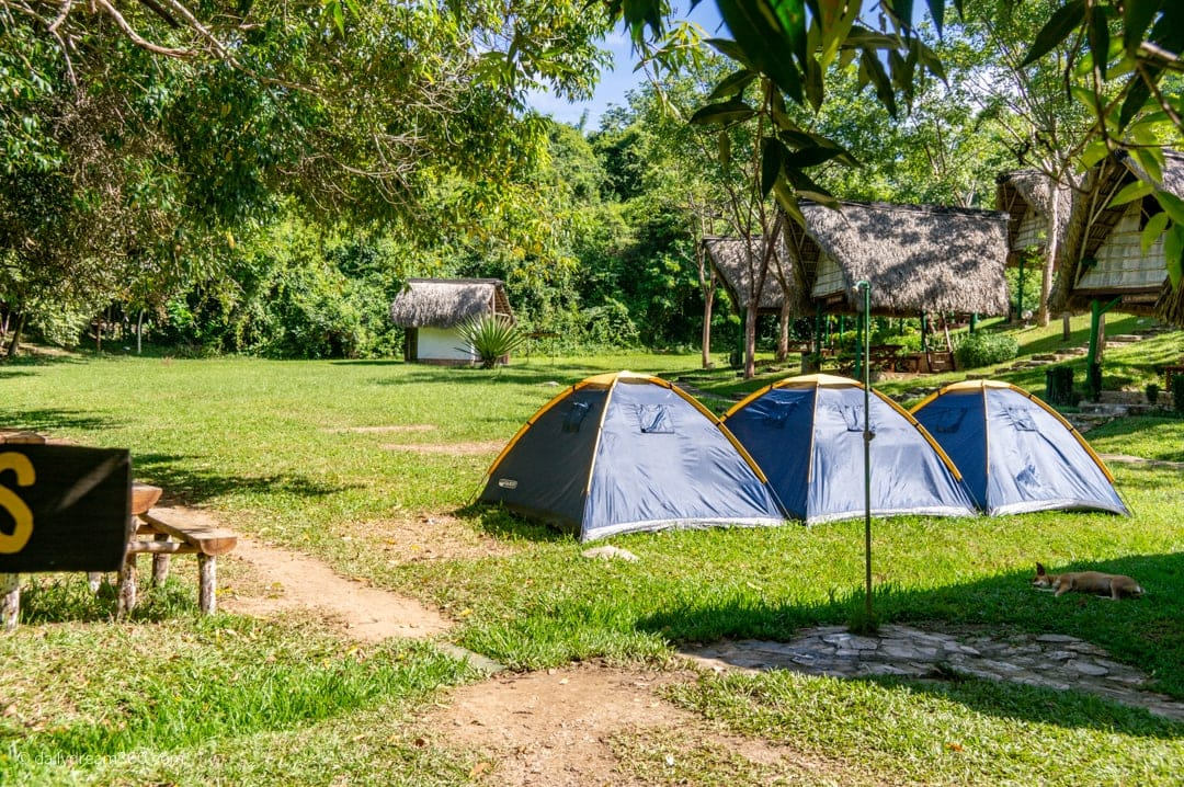 Camping tent area Restaurant on mountain in in Las Terrazas Eco Village Cuba