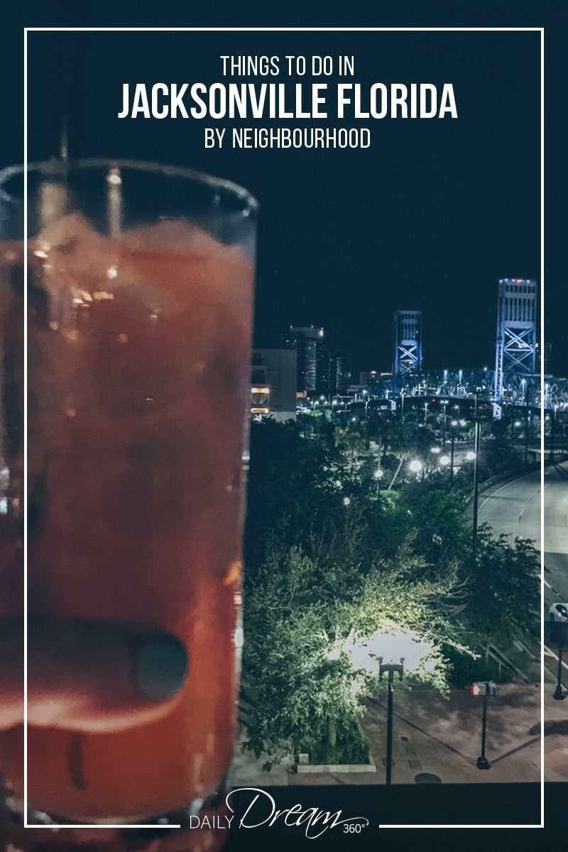 Cocktails from rooftop of Chophouse restaurant in downtown Jacksonville