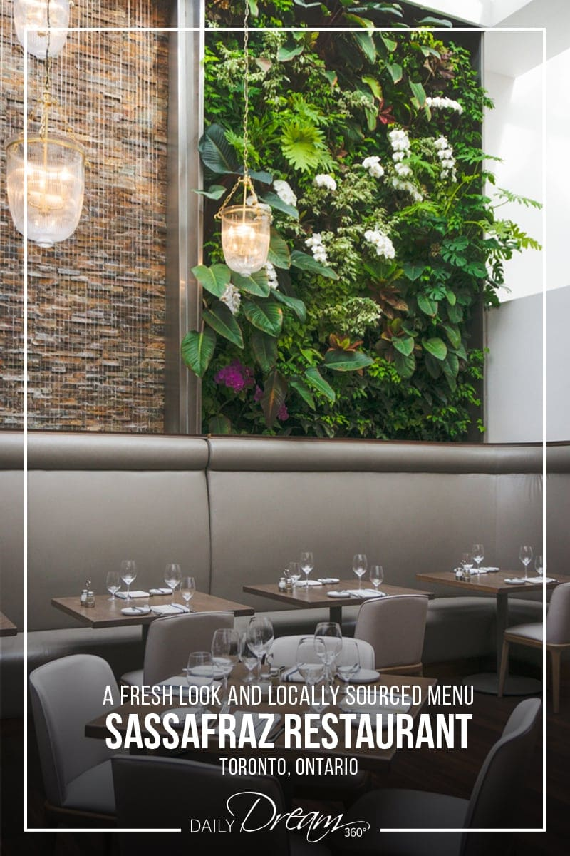 Inside Sassafraz Toronto Restaurant's redesign, a green wall with beige furnishings.
