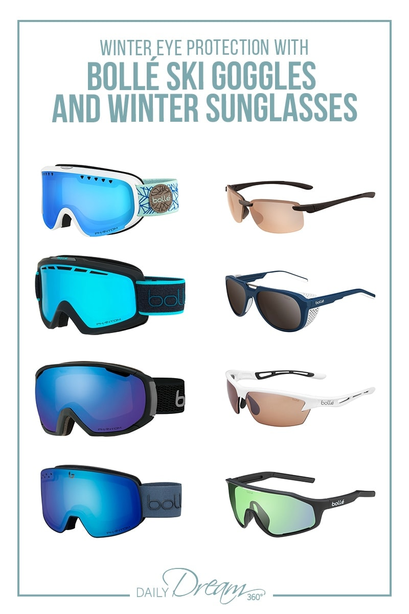 selection of Bolle winter ski goggles and winter sunglasses for winter eyewear post pin