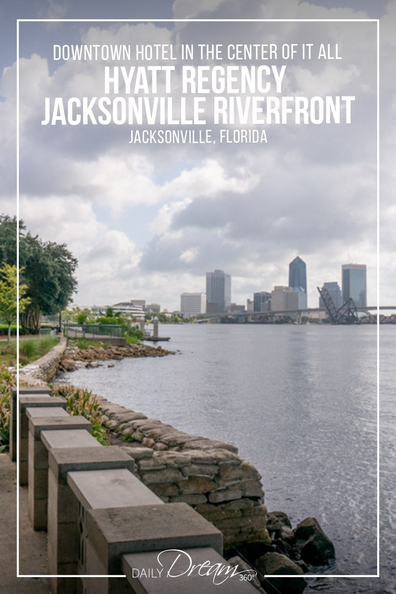 Jacksonville riverfront walk with view of skyline