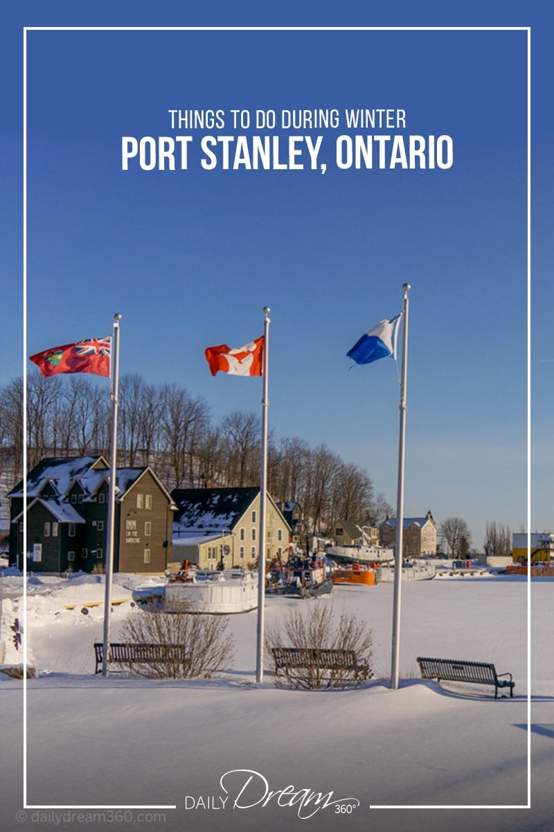 Flags on waterfront in Port Stanley Ontario during winter.