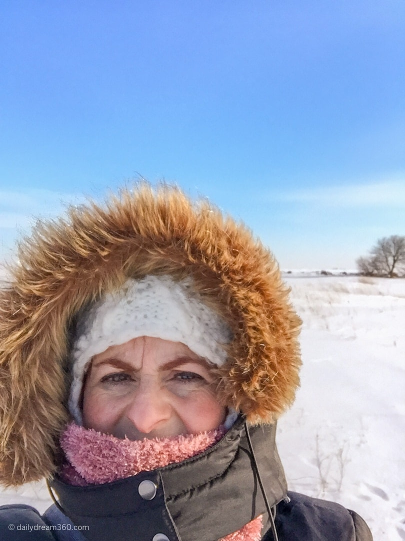 Sharon Mendelaoui bundled up for winter on a winter walk in Port Stanley Ontario.