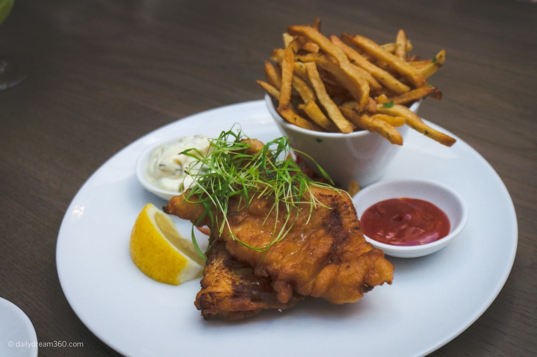 Fogo Island Fish and chips Sassafraz Yorkville
