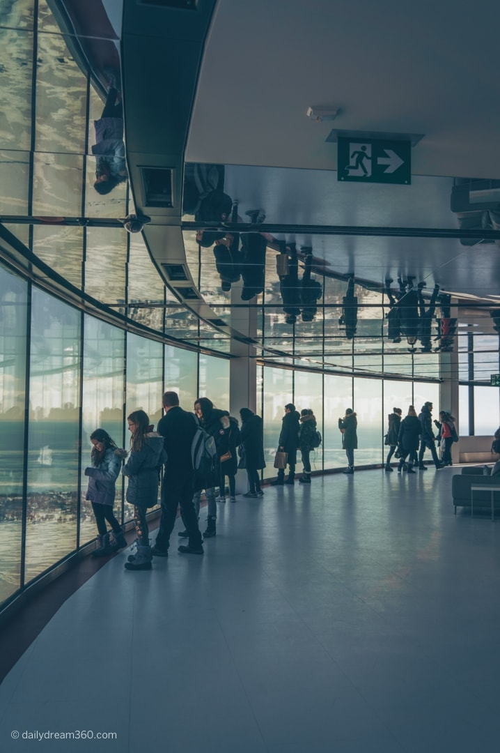 People standing in front of panoramic windows at CN Tower lookout level with reflection in mirrors above