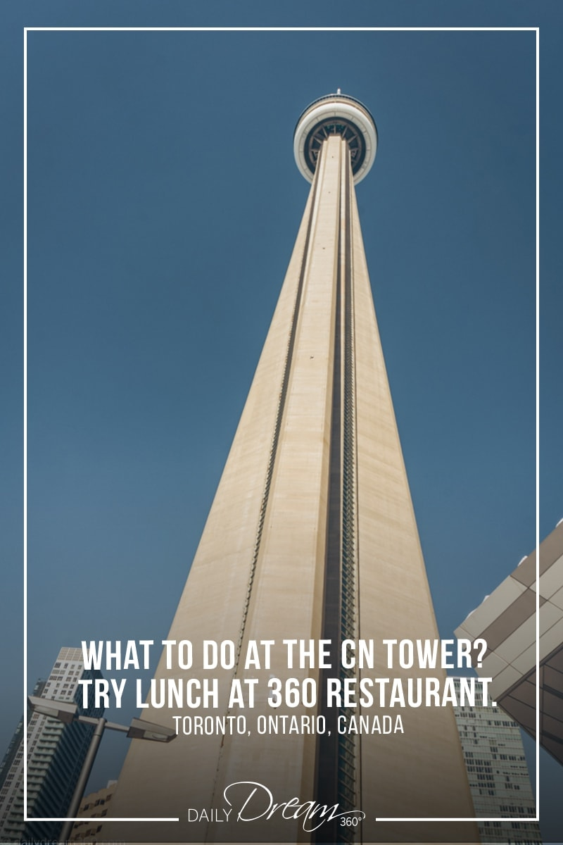 CN Tower looking up from the ground in Toronto