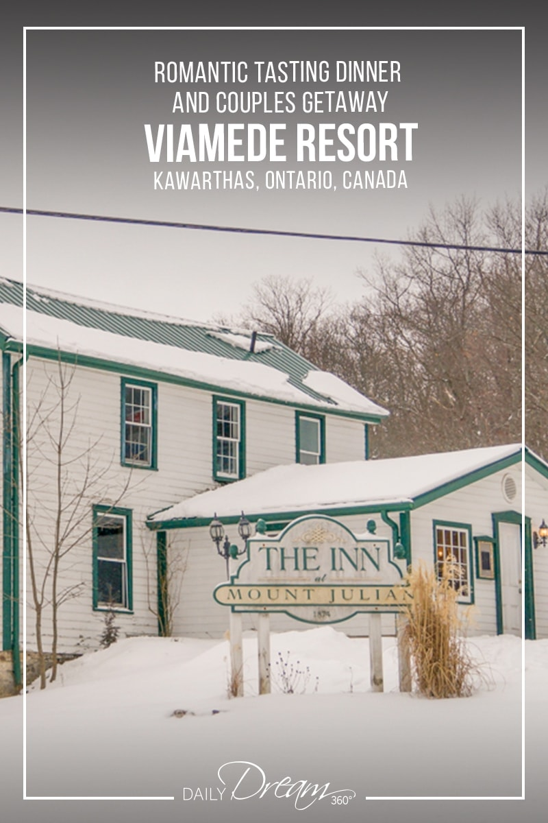 View of the Inn at Mount Julian Restaurant at Viamede Resort in winter.