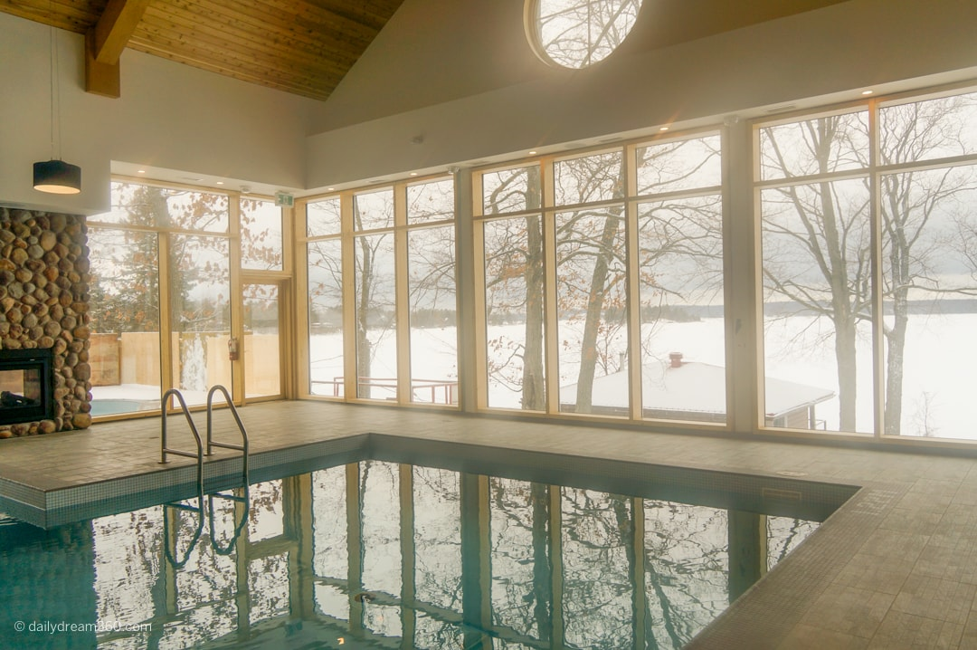 Indoor pool with outdoor swim out at Viamede Resort Ontario