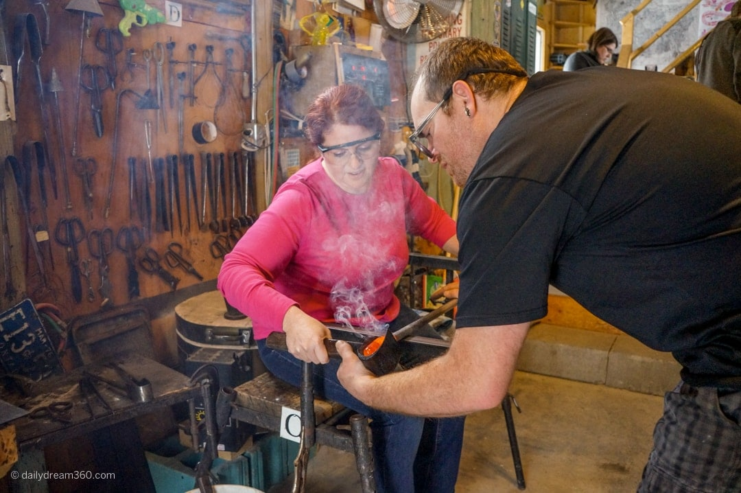 Rolling the glass at Artech Glass Workshop