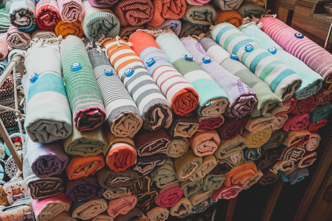 Turkish Towels stacked at Egyptian Spice Bazaar Istanbul