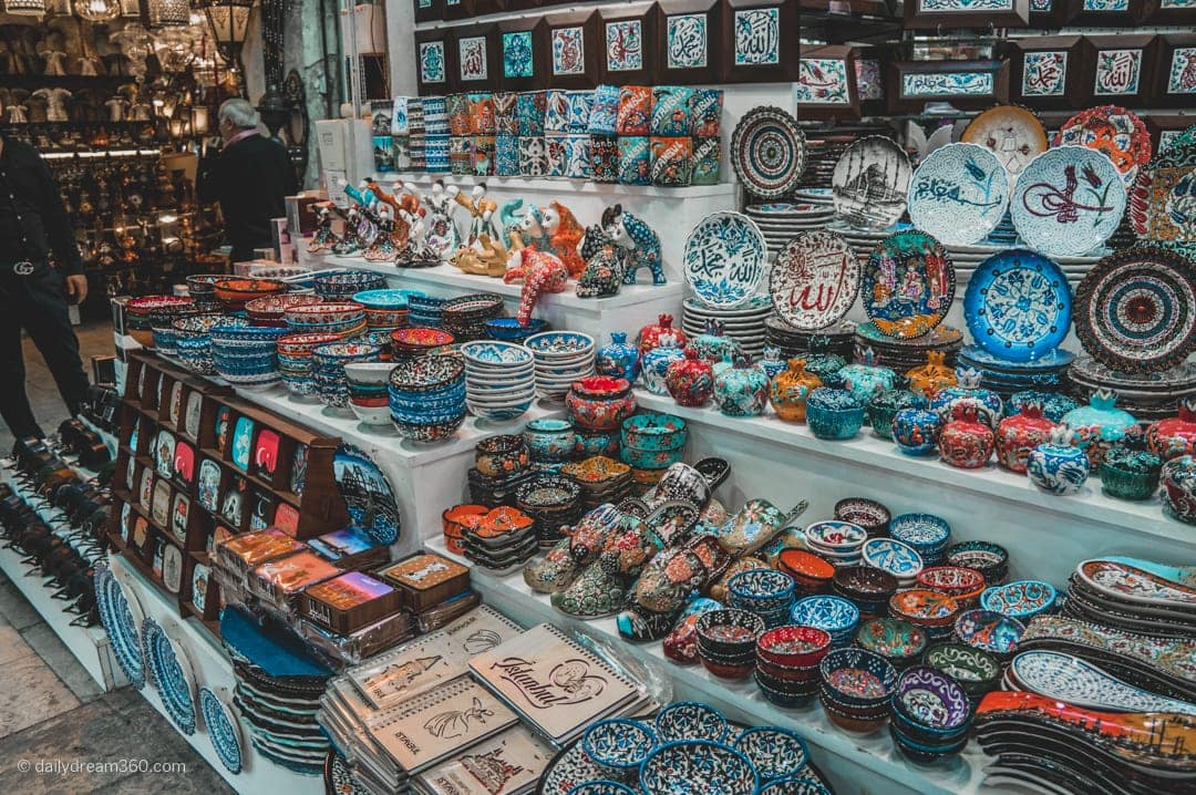 Turkish pottery and more on display at the Grand Bazaar Istanbul
