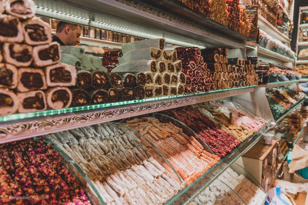 Turkish delight on display at the Grand Bazaar Istanbul