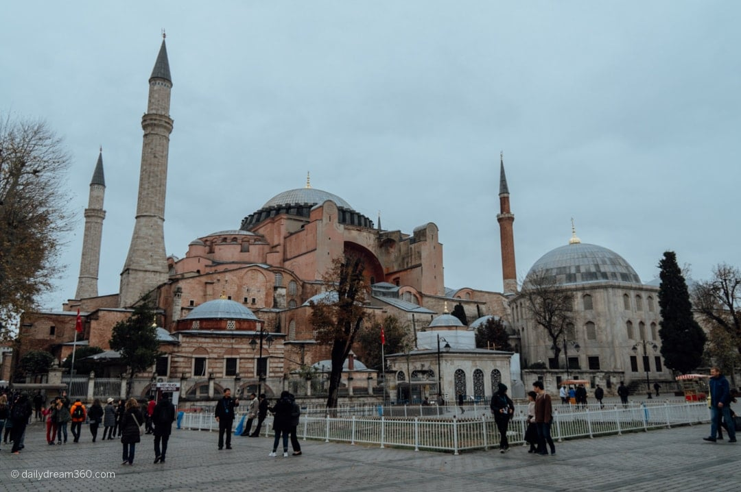 Hagia Sophia Museum from outside as you walk into the entrance area.