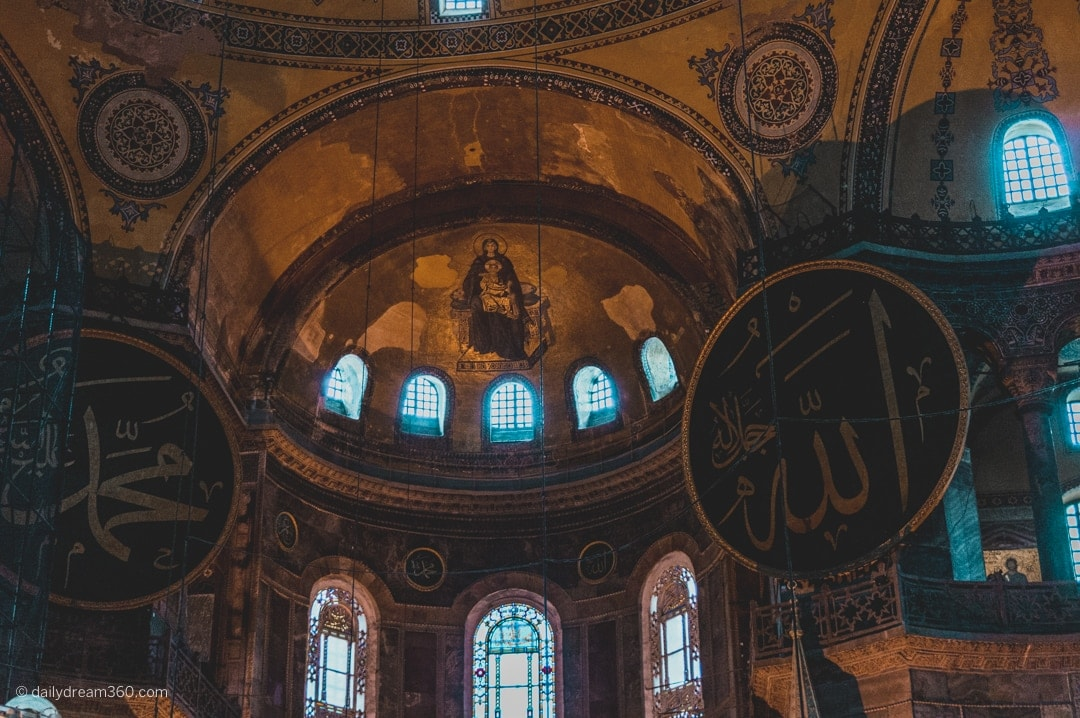 Inside the main room of the Hagia Sophia Museum in Istanbul