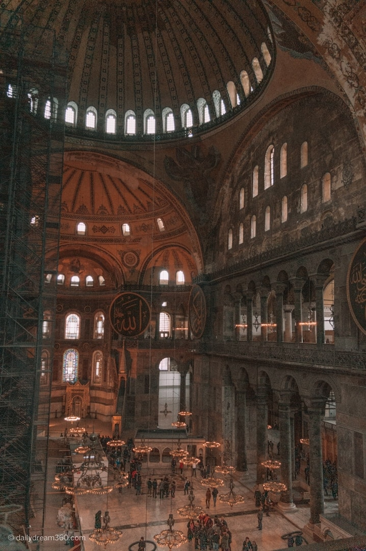 A look inside the Hagia Sophia Museum Istanbul from the second story balcony area.