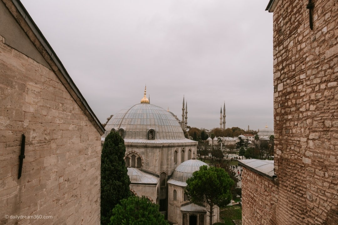 View outside one of the windows on second floor of Hagia Sophia Museum