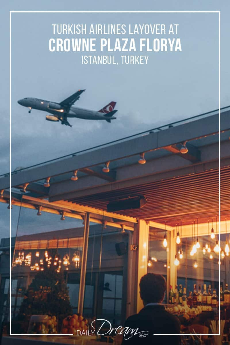 Plane flying over rooftop bar at Crowne Plaza Florya Istanbul