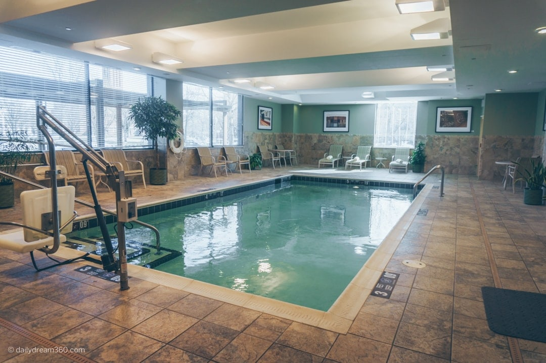 Indoor pool at Strathallan Hotel in Rochester