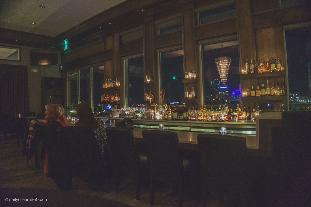 Rooftop Bar with view of skyline at Strathallan Rochester