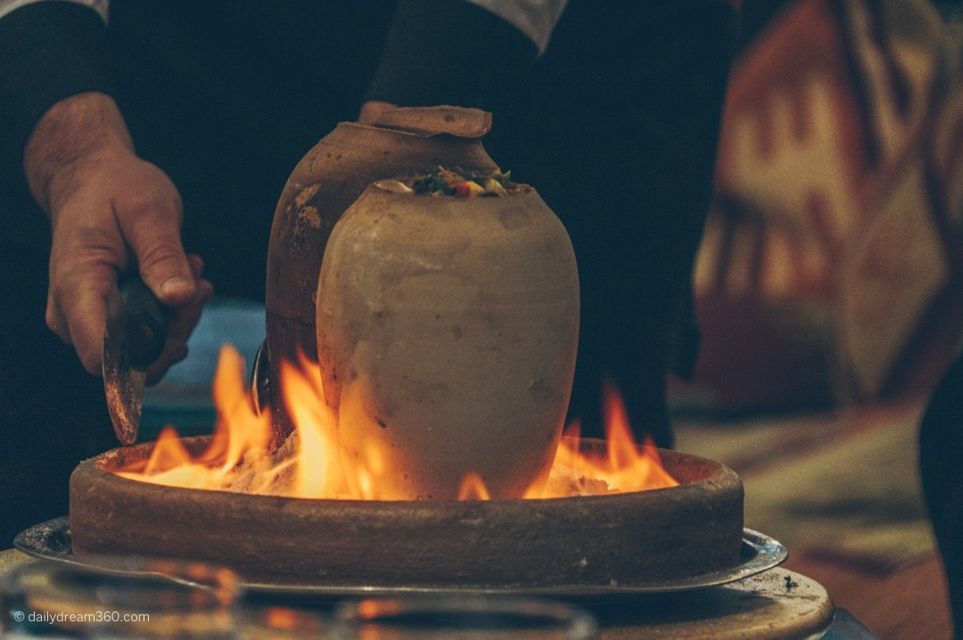 Clay pots burning in salt at The Han Restaurant Istanbul
