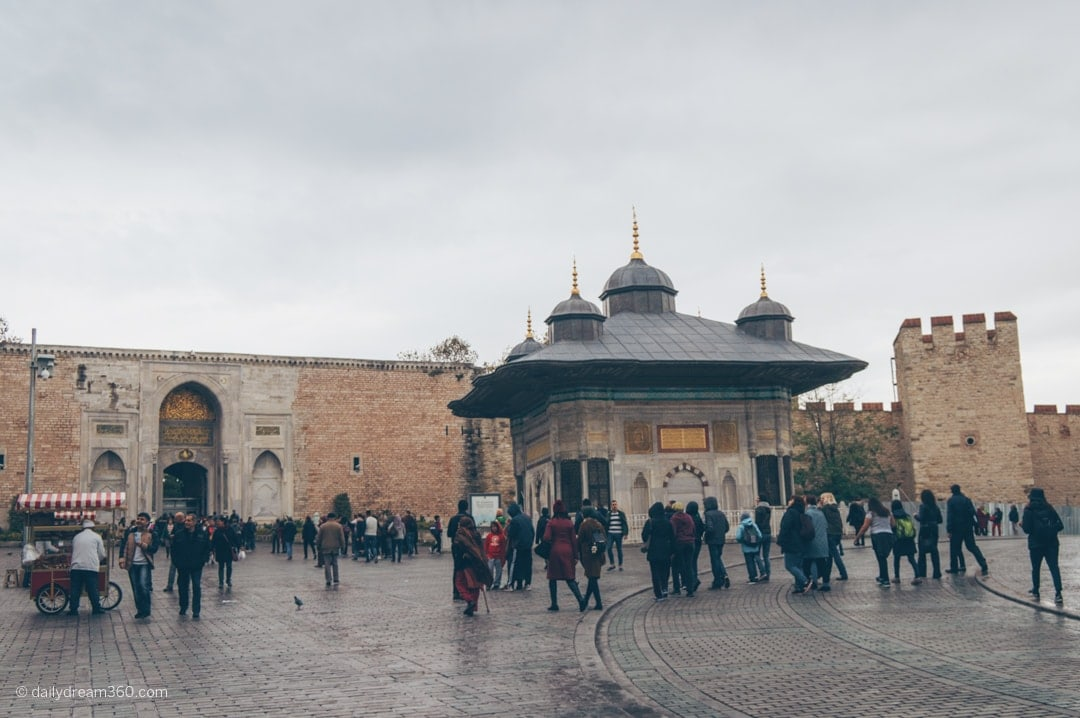 Popular Istanbul tourist attraction Topkapi Palace Museum Sultanahmet Istanbul outside the entrance.