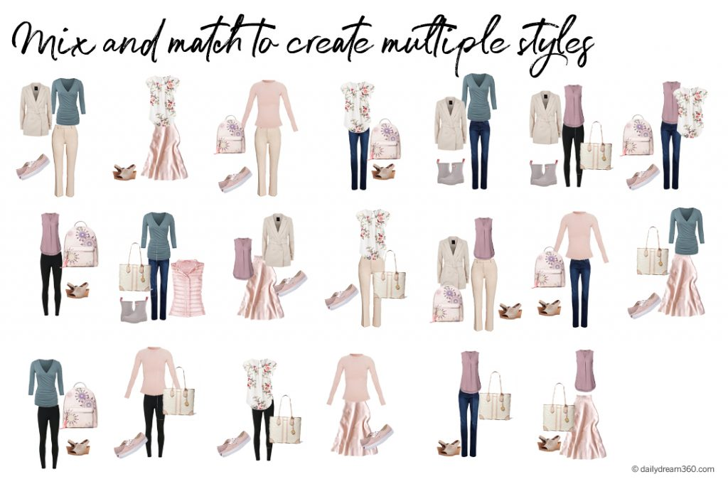 20 outfits from 16 items spring capsule wardrobe