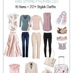 16 items to include in a spring capsule wardrobe with text How to Build a Spring Capsule Wardrobe and Spring Packing List