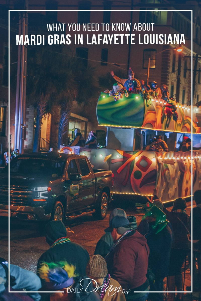 Mardi Gras float passes by crowd in downtown Lafayette Louisiana