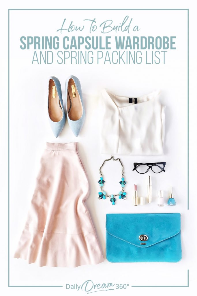 Spring clothing on floor with text: How to Build a Spring Capsule Wardrobe and Spring Packing List