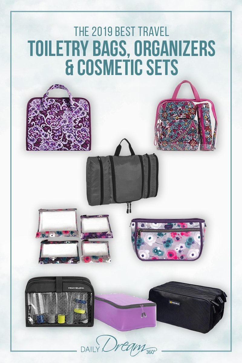 Some of the best toiletry bags on market lie flat on white background