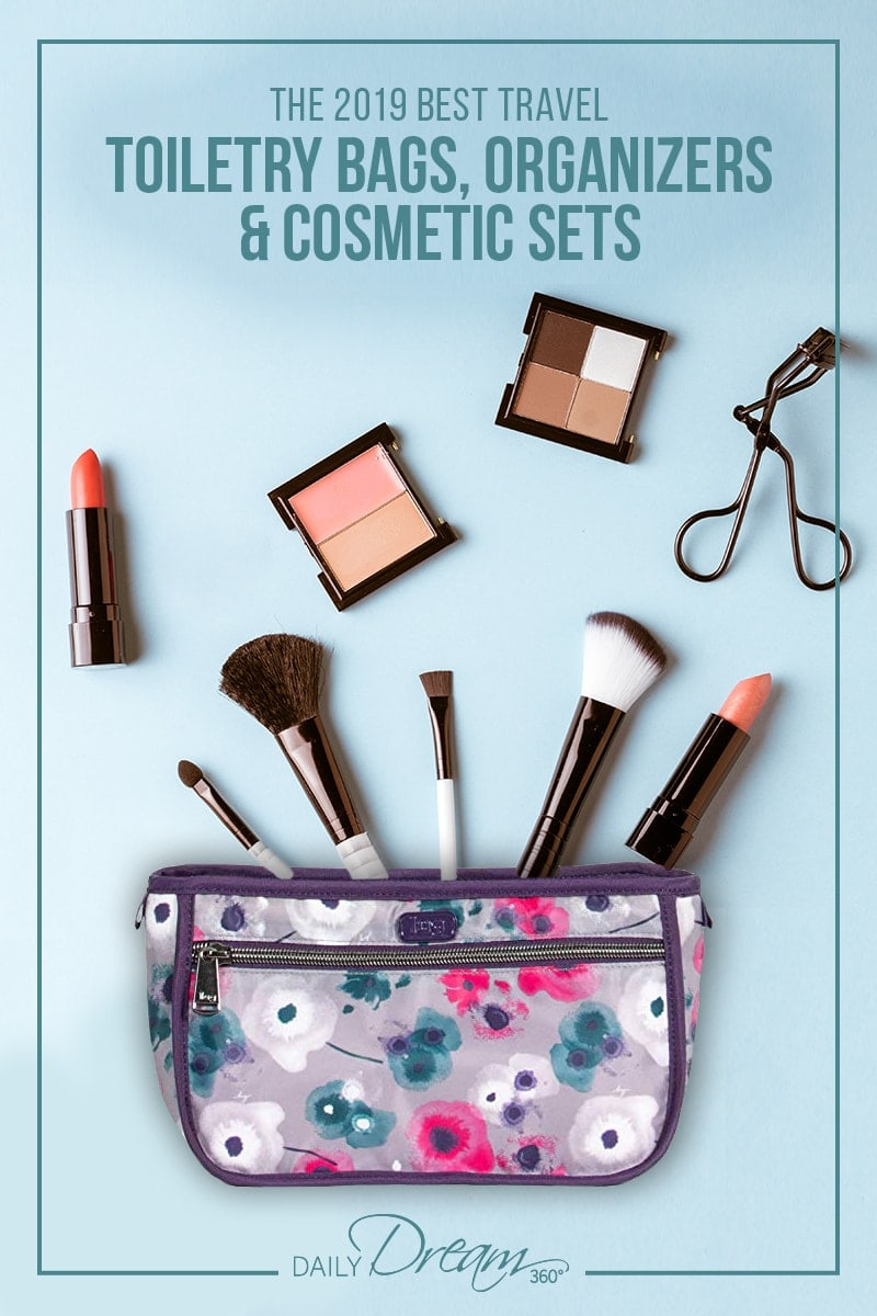 Lug cosmetic bag with brushes and make up scattered around