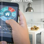 Hand with smart phone controlling home automation and text: Best Gifts for a Smart Home