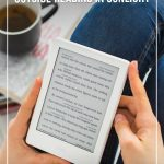 person holding reader with coffee with text Best eReaders for the Beach and the Outdoors