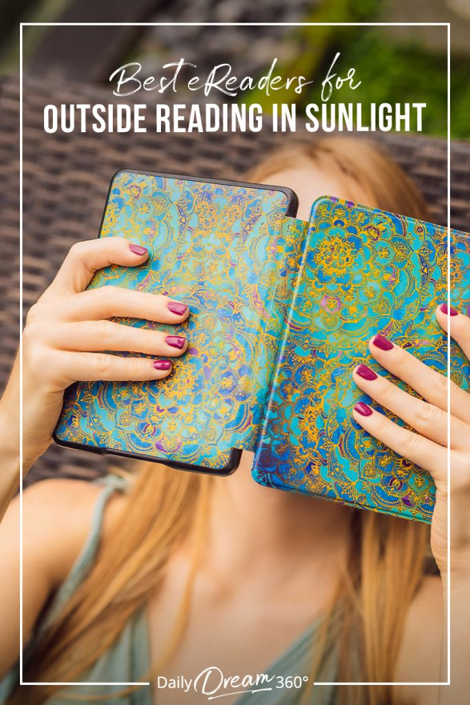 Woman holding reader with text Best eReaders for the Beach and the Outdoors
