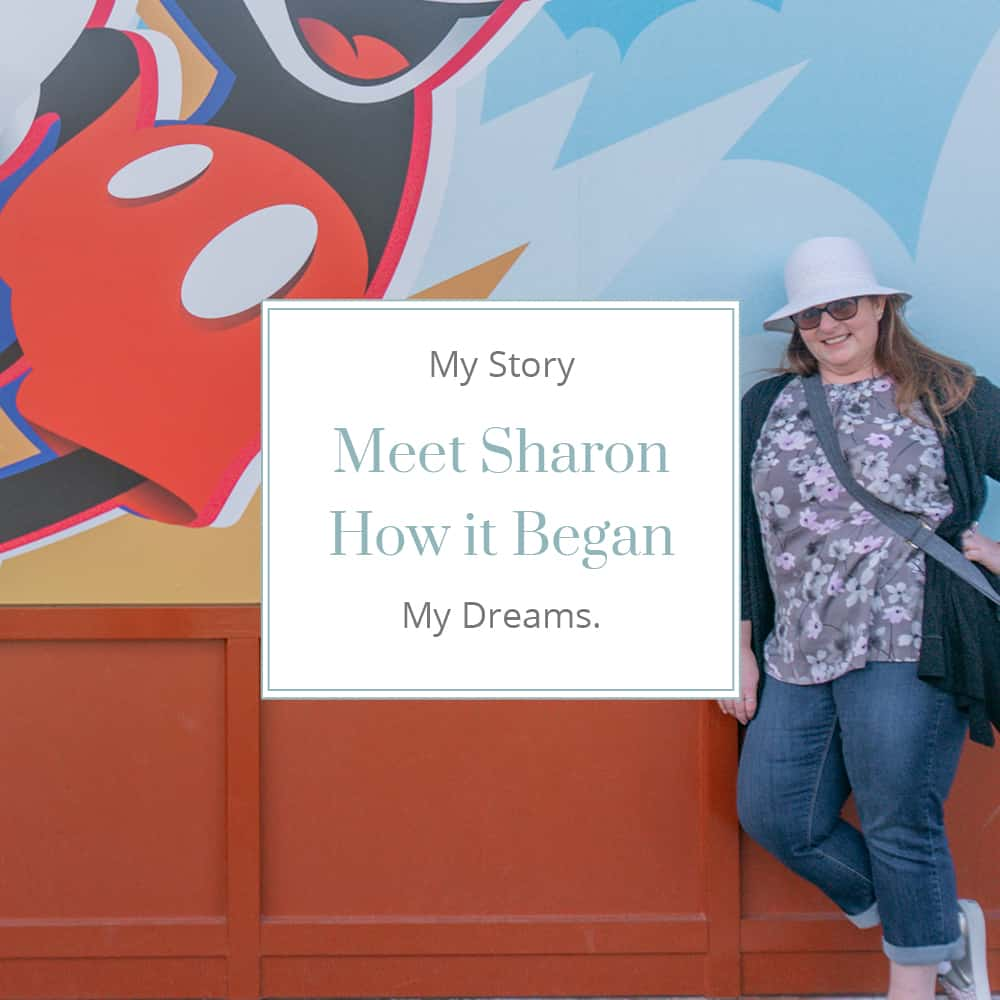 Sharon Mendelaoui standing at Mickey Mouse wall with text Meet Sharon