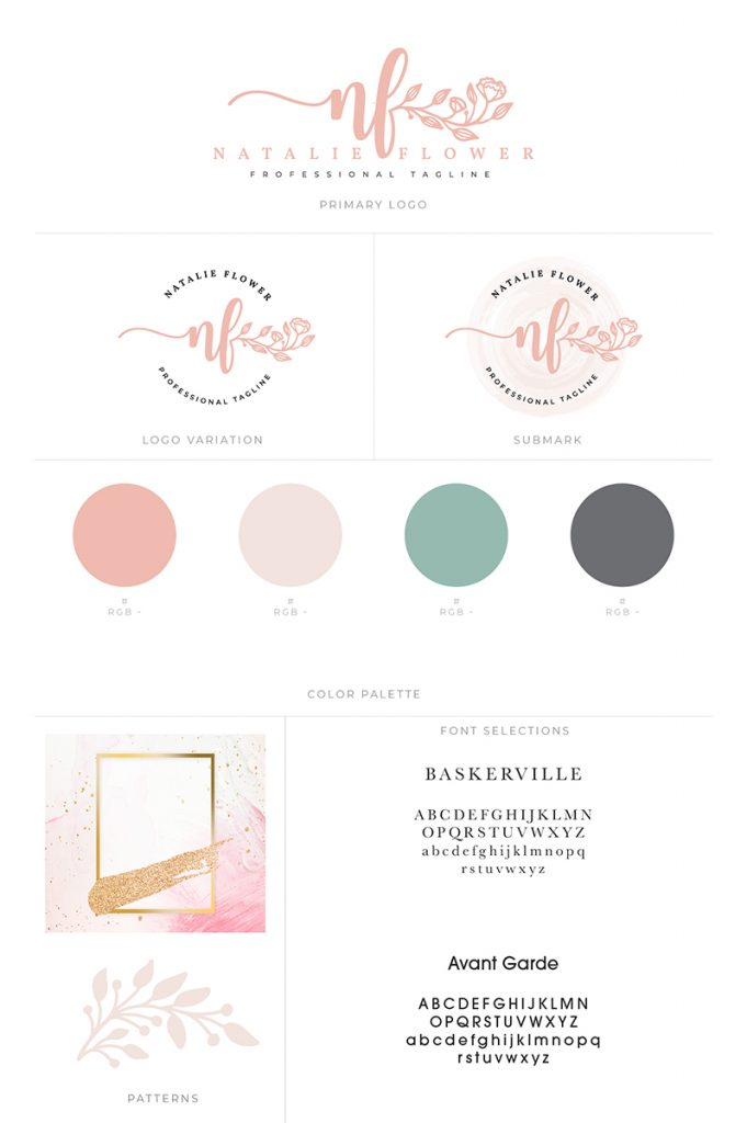 Feminine blog template and brand board