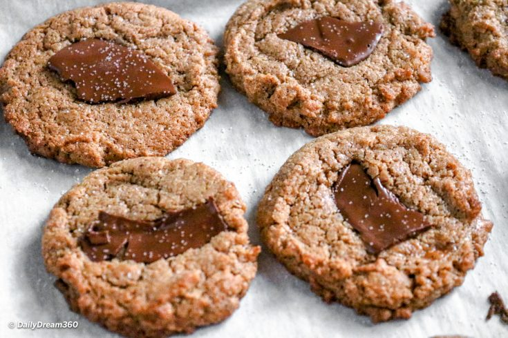 Keto Almond Butter Cookies on a parchment lined pan