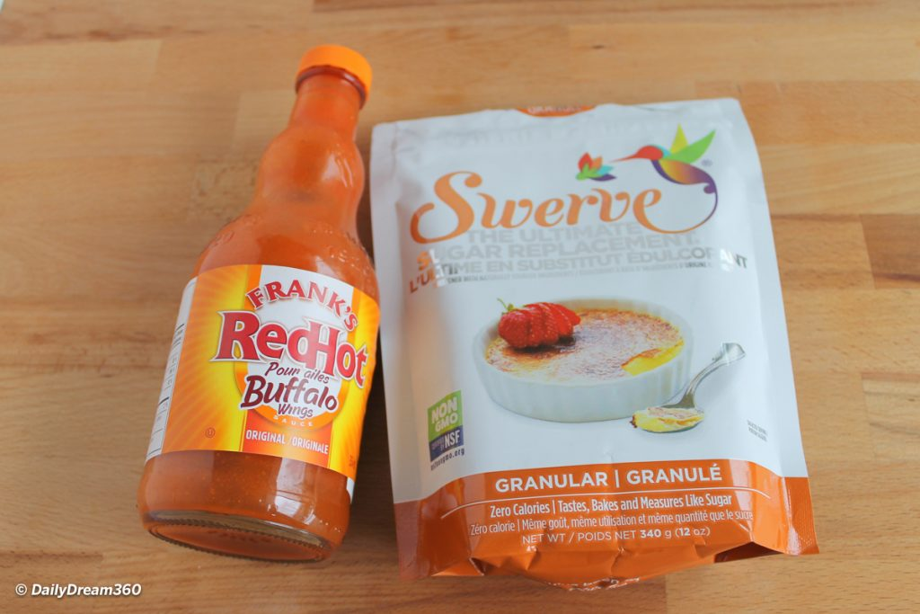 ingredients for low carb keto wings Franks Red Hot Sauce and Swerve Sweetner