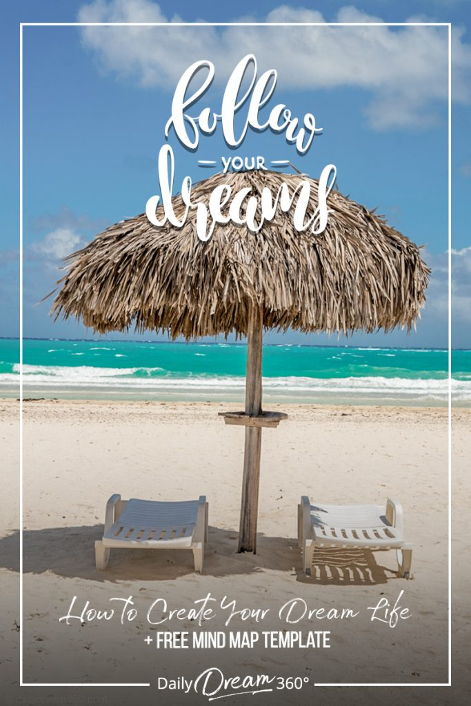 Follow your dreams text with beach chairs and straw beach umbrella in front of ocean on beach