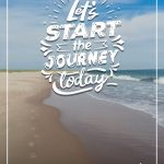 foot prints in sand next to ocean with let's start the journey today text on top