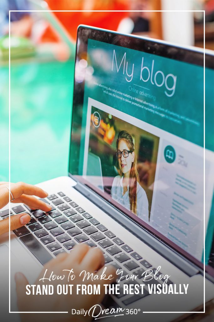 Computer desktop with creative background and text How to Make Your Blog Stand Out from the Rest Visually