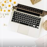 Computer laptop on desk with gold accessories and text How to Make Your Blog Stand Out from the Rest Visually
