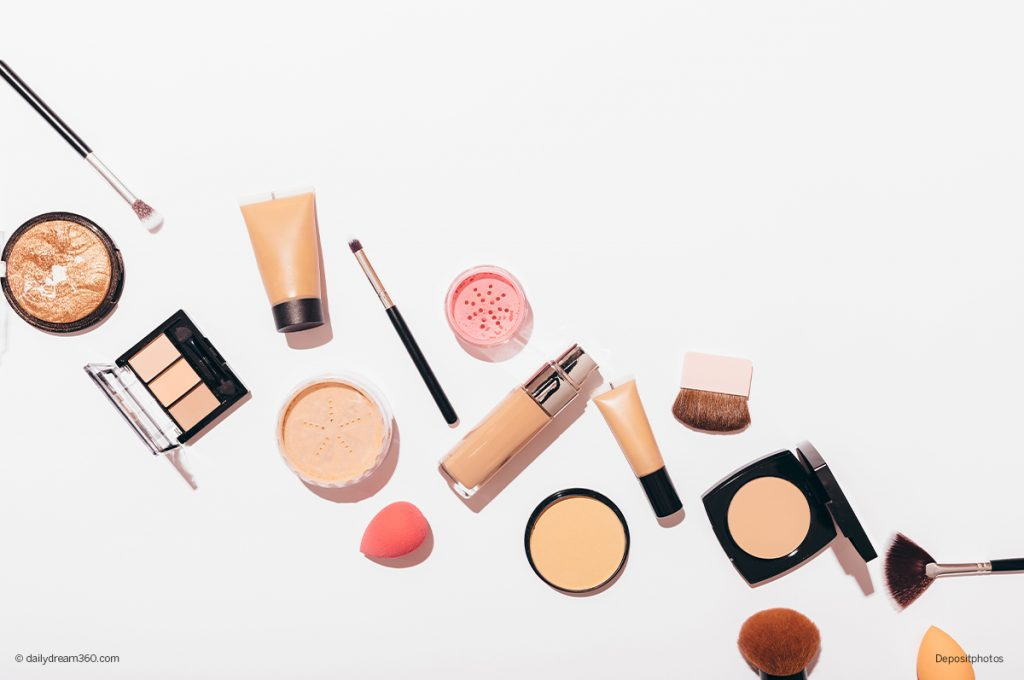 best foundation for aging skin over 50 bottles and makeup on white background