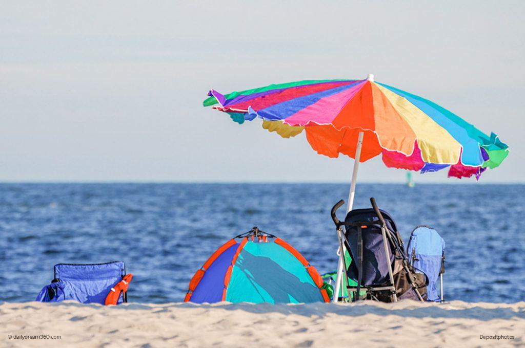 Childs beach shade and umbrella on beach