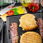 Food on grill with text Best Indoor Grills for Your Small Space Summer BBQ